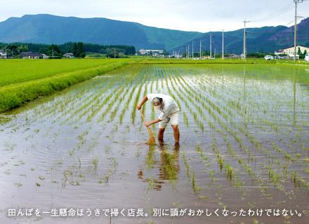 田んぼをほうきで掃く店長。