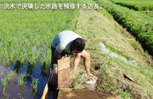 洪水で決壊した水路を補修する店長。