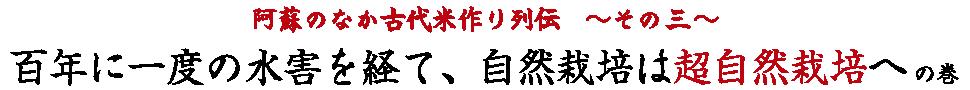 阿蘇のなか古代米作り列伝その3。百年に一度の水害を経て、自然栽培は超自然栽培への巻。