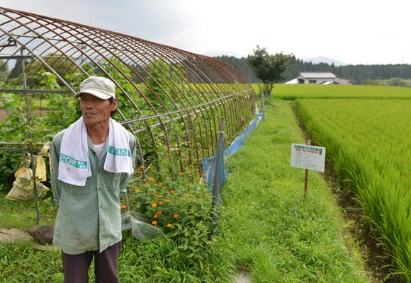 増田十九男さん。南阿蘇村でも一際標高の高い沢津野地区で米作りを行っている。店長が行った時は夫婦二人で畑作業に精を出していた。