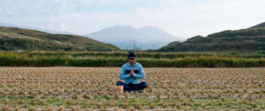 田んぼで新米を食べてみる。