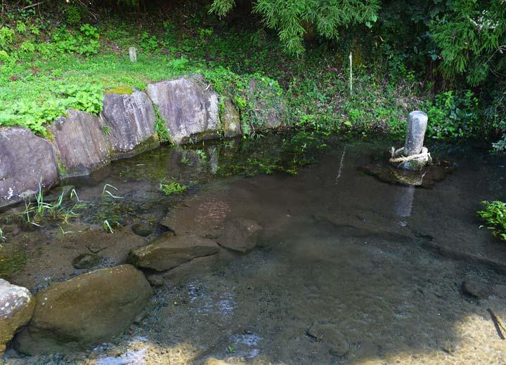 水田に使用する水は喜多堤湧水群の湧き水。天保四年(1832年)に作られた、歴史ある農業用水施設だ。