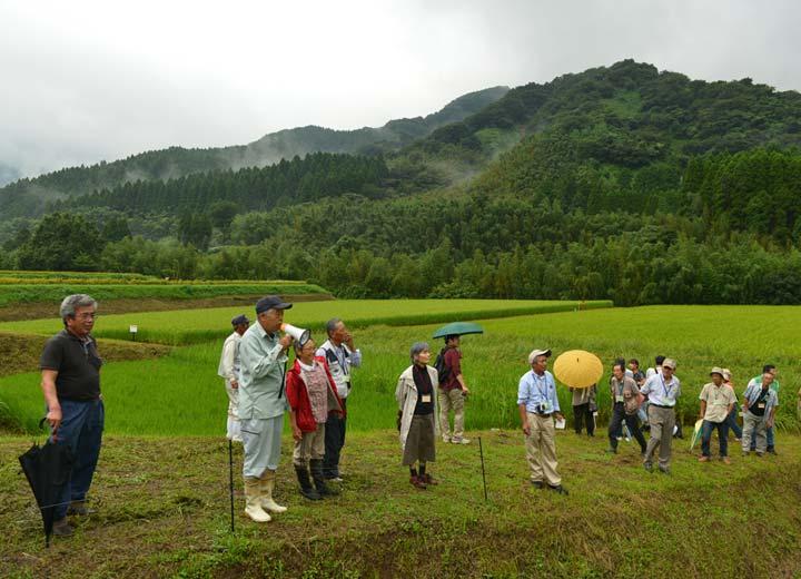 環境保全型農業技術研究会の勉強会で、田んぼの説明を行う緒方さん。隣りに立っているのは高島さんと長野さん。